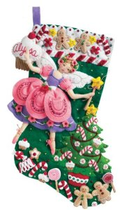 Bucilla 18-Inch Christmas Stocking Felt Applique Kit, Sugar Plum Fairy