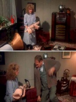 A Christmas Story movie scene with leg lamp
