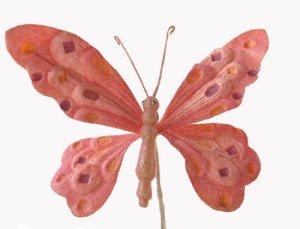 """10"""" Pink Velvet Butterfly Christmas Clip-on Ornament"""