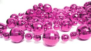 6' SHINY PINK DISCO BALL BEADED CHRISTMAS GARLAND