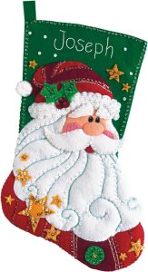 Dimensions Sequined Santa Stocking