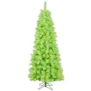 "Vickerman 26690 - 7.5' x 40"" Lime Cashmere 400 Green DuraLit Miniature Lights Christmas Tree (A121376) 
