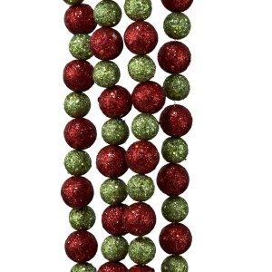 Kurt Adler 6' Red And Lime Green Glitter Ball Christmas Garland   Holly Jolly Holidays
