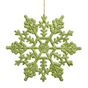 Vickerman Plastic Glitter Snowflake, 4-Inch, Lime, 24 Per Box | Holly Jolly Holidays