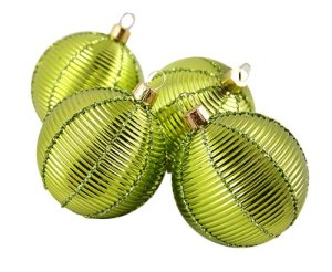 "4ct Shiny Lime Green Ribbed Shatterproof Christmas Ball Ornaments 2.5"" (60mm) 