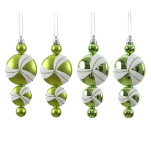 Set of 16 Lime Green and White Candy Dangle Christmas Ornaments 6"