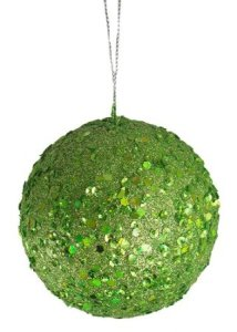 Club Pack of 24 Lime Holographic Glitter Drenched Christmas Ball Ornaments 3"