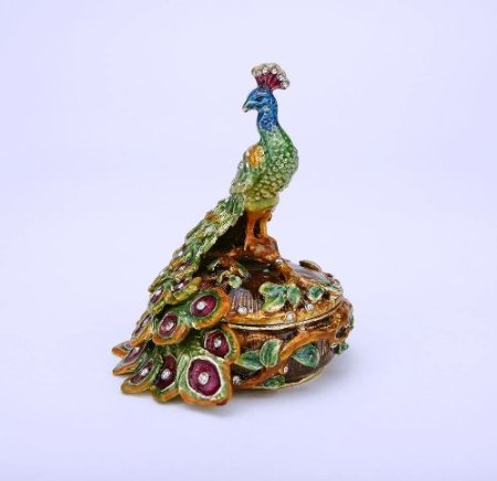 Round Male Peacock Figurine Box Swarovski Crystals Bird Jewelry, Trinket Keepsake or Pill Box FIGURINE