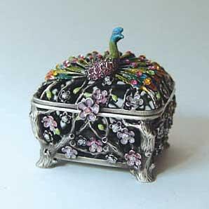 Peacock Figurine Box Swarovski Crystals Bird Cuff Jewelry, Trinket or Pill Box Limited Edition Collectible Figurine