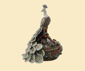 Enameled Pewter Jeweled Peacock Trinket Box