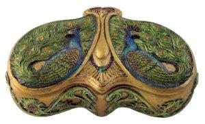 Art Nouveau Style Peacock Tails Jewelry Box Bronze Powder Cast