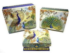 Punch Studio Brooch Flap Trinket Nesting Box Set of 3 - Royal Peacocks