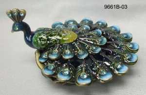 Green Blue Peacock Jewelry Trinket Box 1.5in H