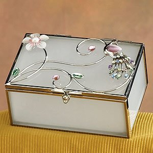 StealStreet SS-A-38111 Jewel Peacock with White Floral Jewelry Box Holder, Pink