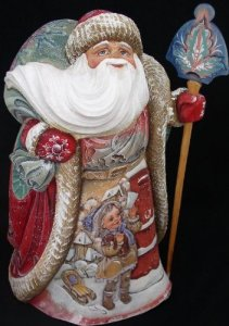Carved Russian Santa Figure