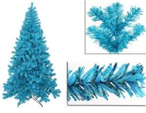 5' Pre-Lit Sky Blue Full Artifical Sparkling Tinsel Christmas Tree- Teal Lights