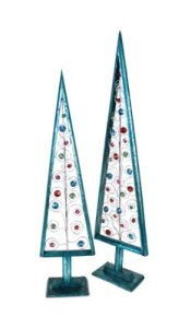 """8 Teal Christmas Trees with Multicolored Jewels Table Top Decorations 28"""""""