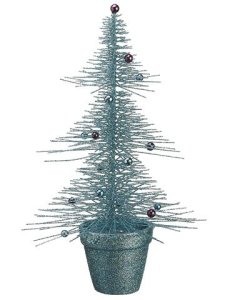 """16"""" Whimsical Turquoise Glittered Spike Table Tree"""