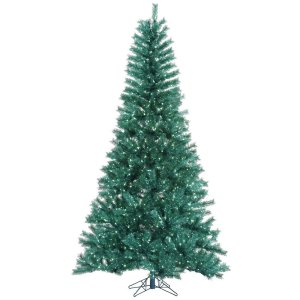7.5' Pre-Lit Medium Aqua Blue Tinsel Artificial Christmas Tree - Teal Lights