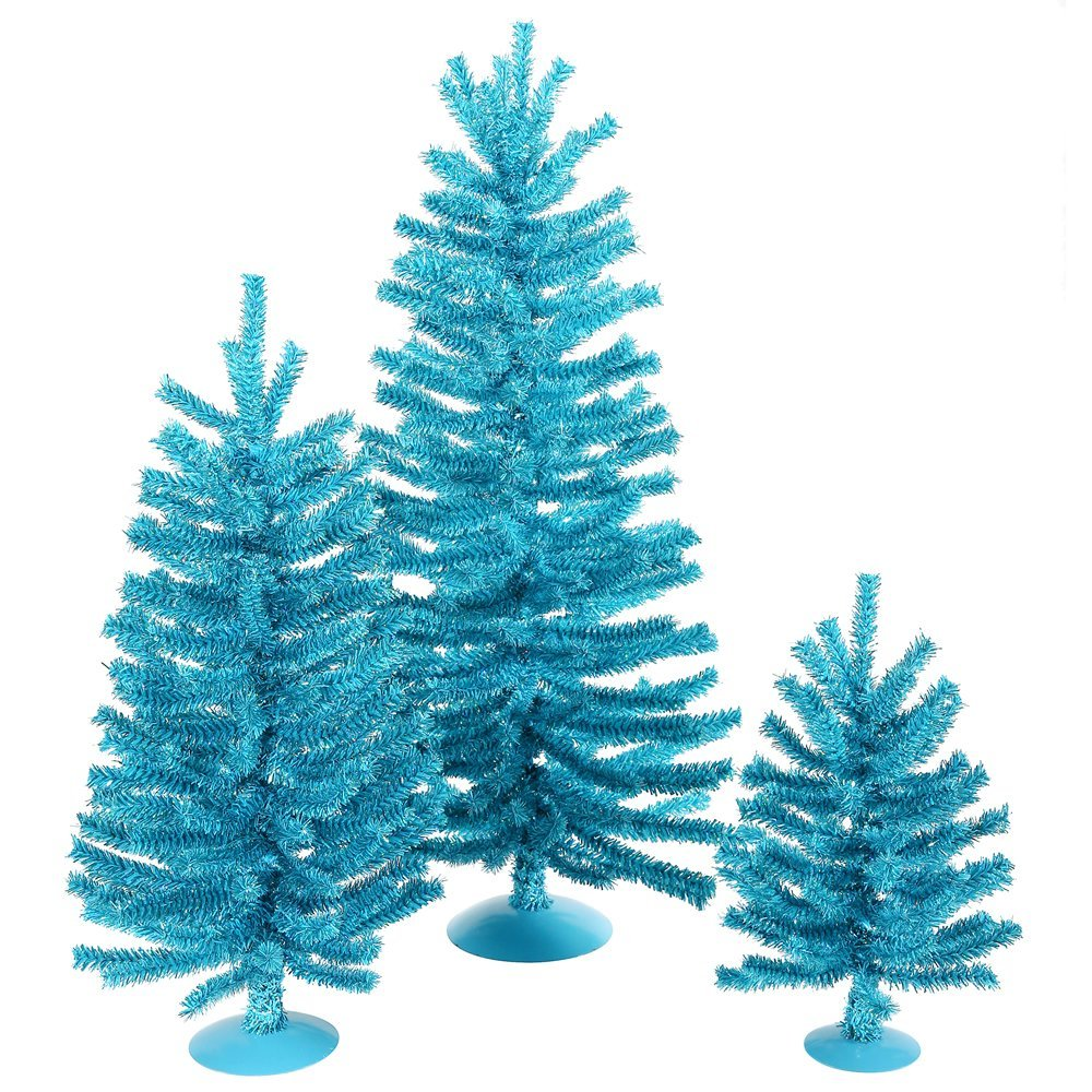 turquoise aqua teal christmas trees wreaths and garlands