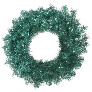 "30"" Pre-Lit Aqua Blue Tinsel Artificial Christmas Wreath - Teal Blue Lights"