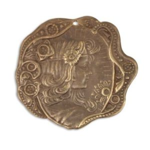 Vintaj Natural Brass Art Nouveau Daisy Maiden Pendant 30mm (1)