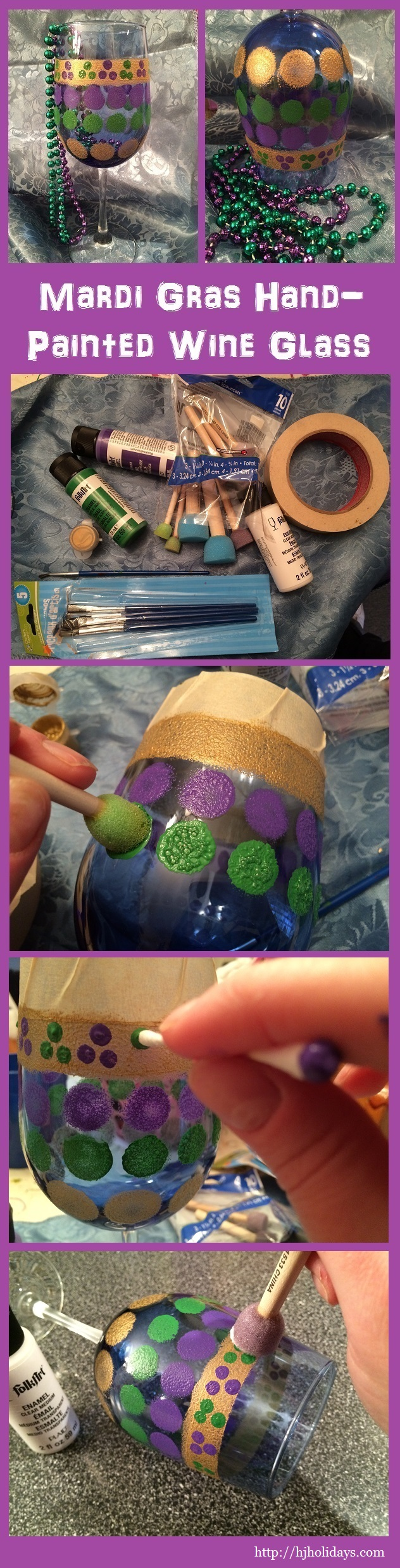 Mardi Gras Hand Painted Wine Glass Tutorial