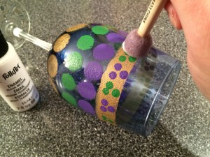 Hand Painted Mardi Gras Wine Glass Tutorial-STEP EIGHT