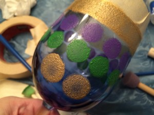 Hand Painted Mardi Gras Wine Glass Tutorial-STEP FIVE