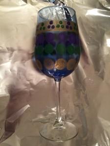 Hand Painted Mardi Gras Wine Glass Tutorial-STEP NINE