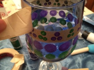 Hand Painted Mardi Gras Wine Glass Tutorial-STEP SEVEN