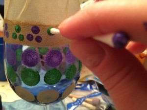 Hand Painted Mardi Gras Wine Glass Tutorial-STEP SIX (B)