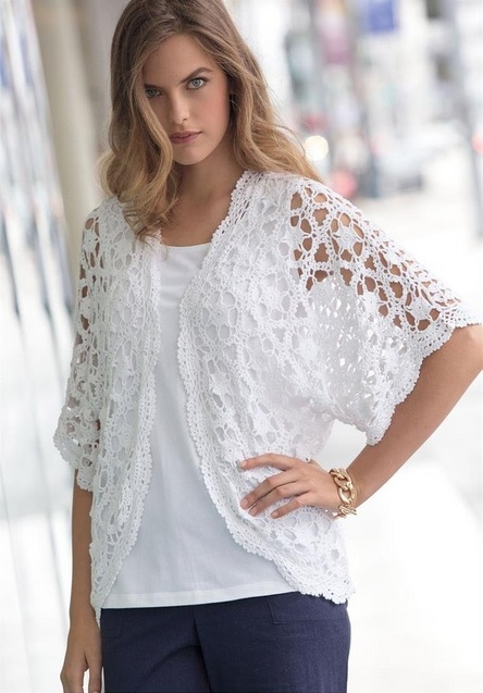 Jessica London Plus Size Crochet Cardigan