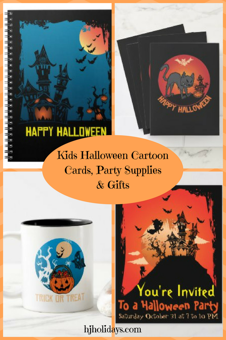 Kids Halloween Cartoon Cards, Party Supplies and Gifts