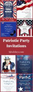 Patriotic Party Invitations for July 4th, Memorial Day and Labor Day