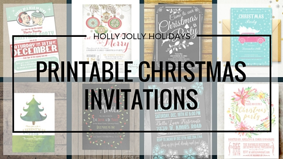 printable christmas holiday party invitations - holly jolly holidays, Party invitations
