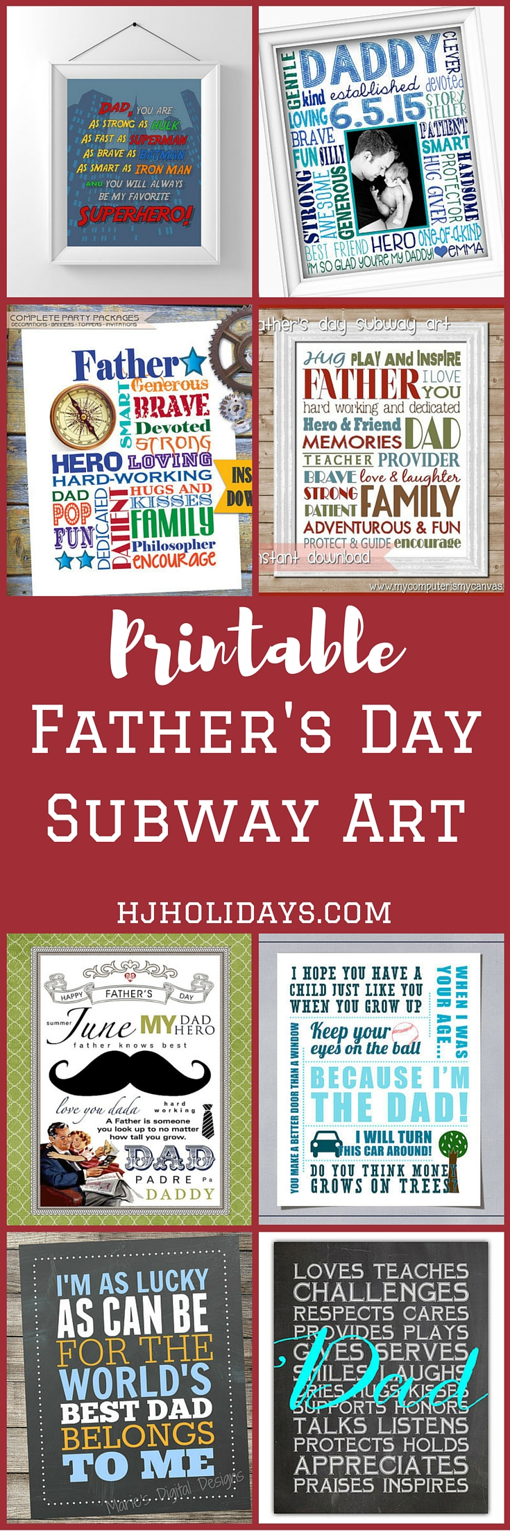 Printable Father's Day Subway Art