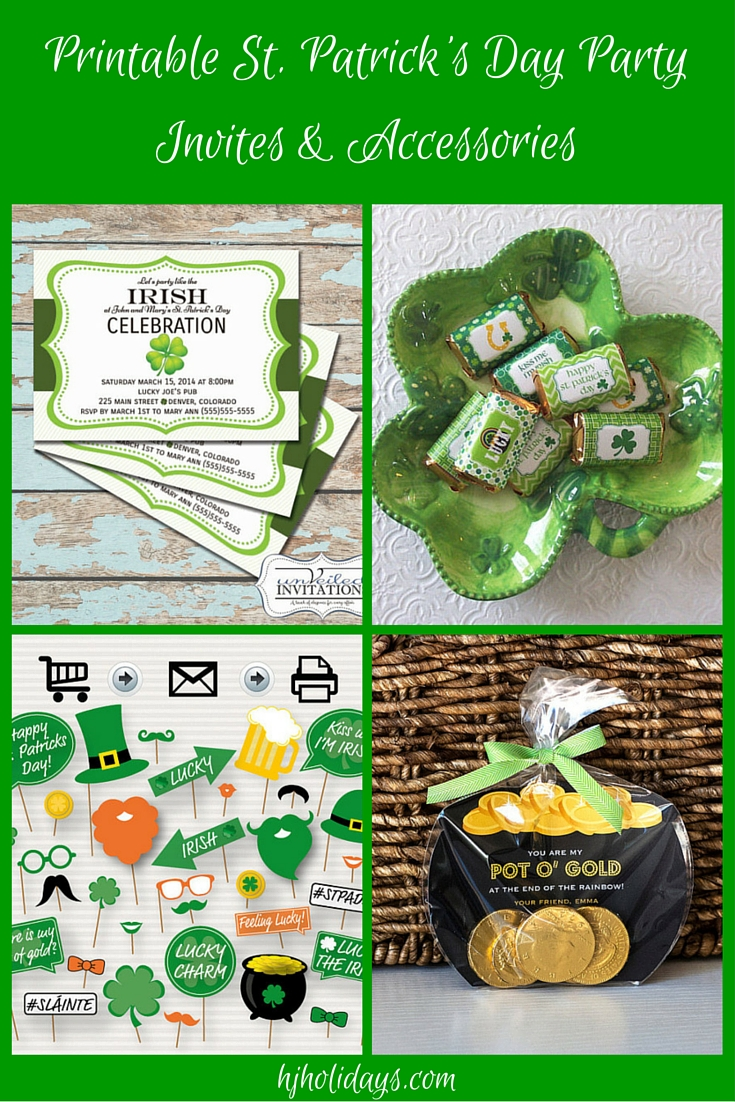 Printable St. Patrick\'s Day Party Invitations and Accessories