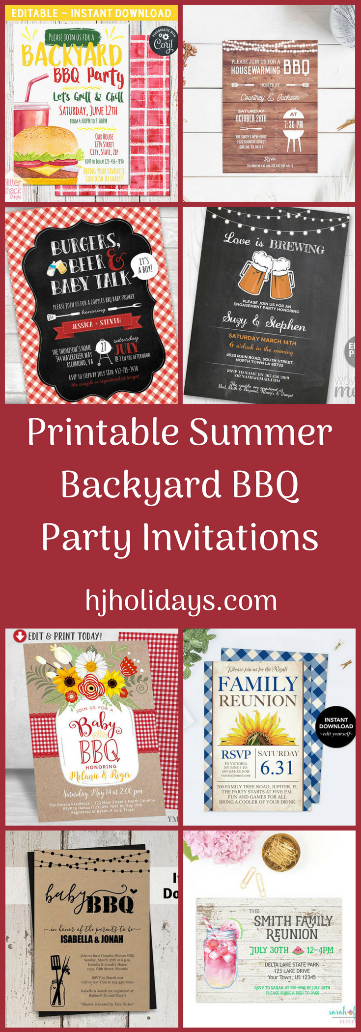 Printable Summer Backyard BBQ Party Invitations