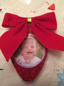 Red Bulb with Baby and Bow