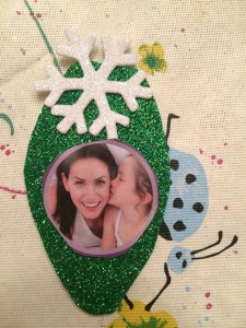 Green Bulb with White Snowflake Ornament
