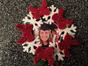 White Snowflake and Red Bows Ornament
