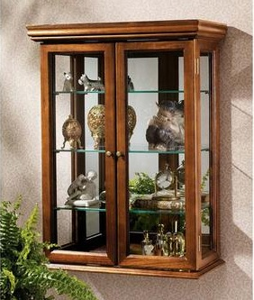 Country Tuscan Style Hardwood Wall Curio