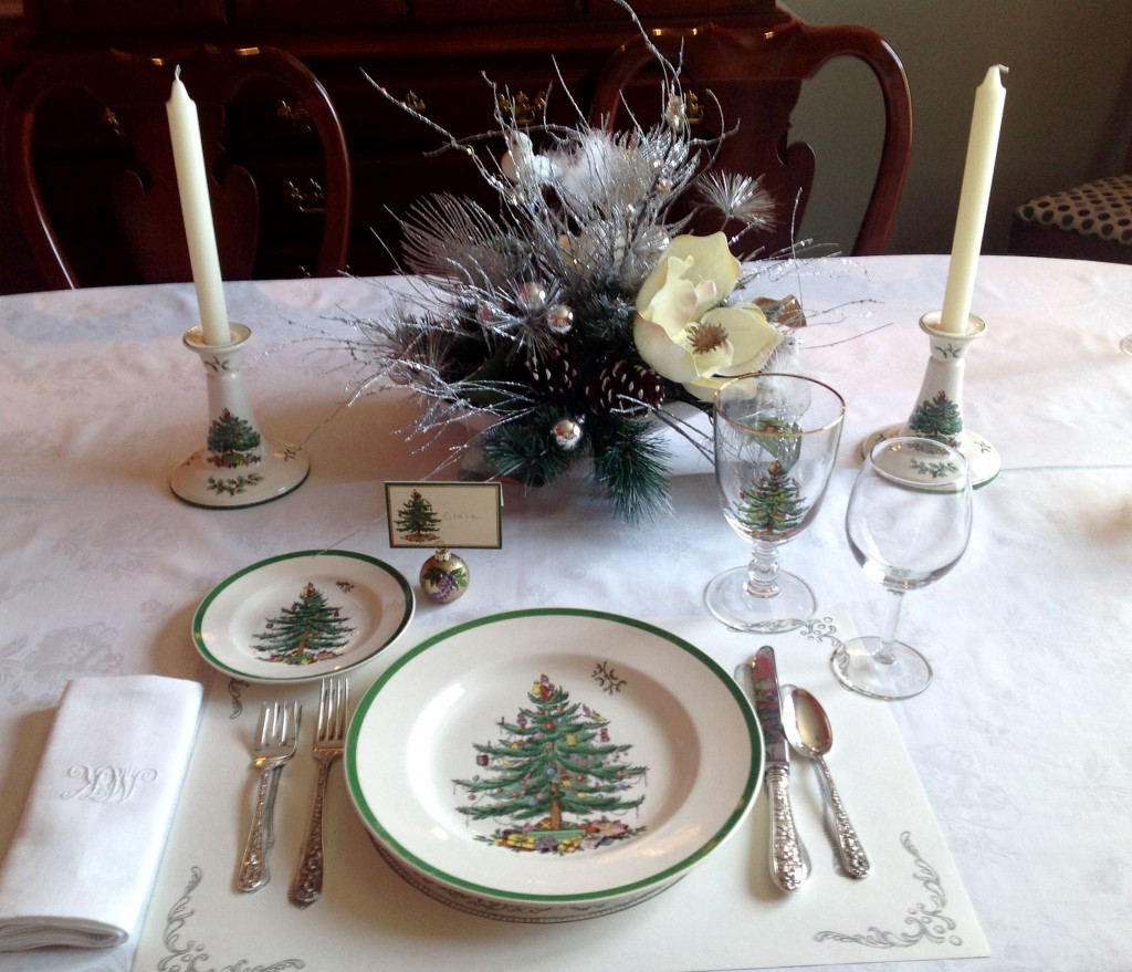 A Table set with the Spode Christmas Tree china and glasses. (photo by Janis Jordon)