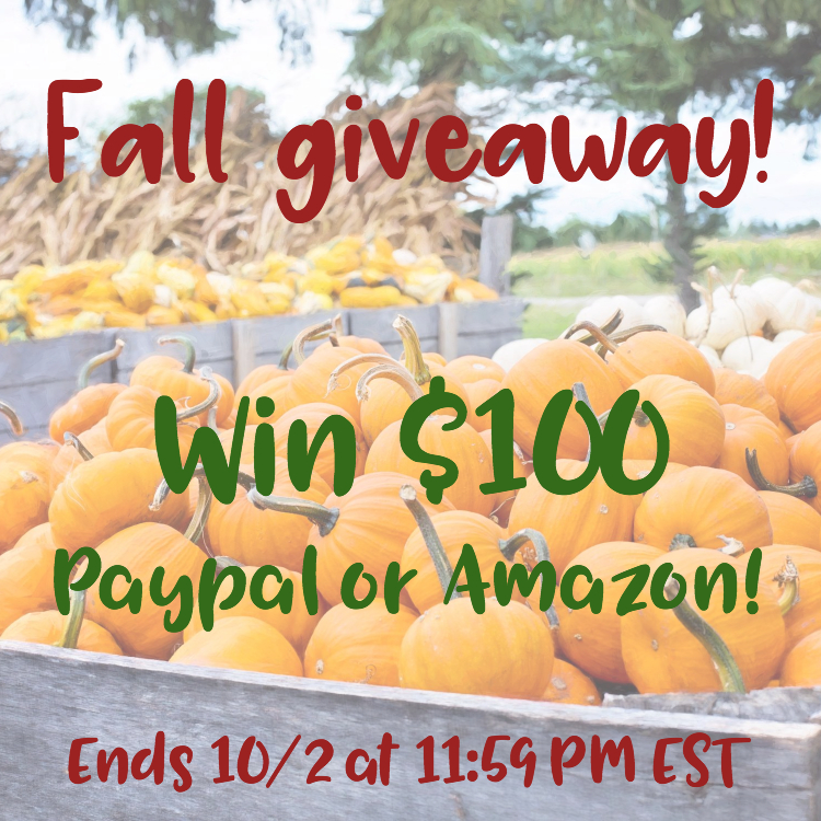 Fall Twitter Giveaway $100 PayPal or Amazon
